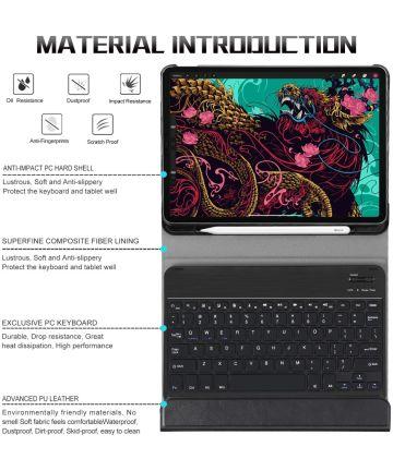 Lederen Bluetooth Toetsenbord hoes Qwerty Apple iPad Pro 11 2020 Zwart