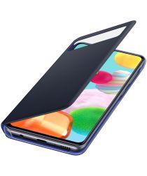 Origineel Samsung Galaxy A41 Hoesje S-View Wallet Cover Zwart/Blauw