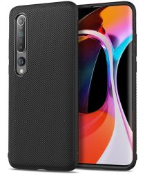 Xiaomi Mi 10 (Pro) Hoesje Twill Slim Texture Back Cover Zwart