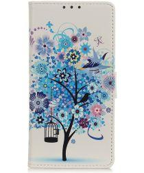 Alcatel 1B (2020) Book Case Hoesje Wallet met Print Blue Tree
