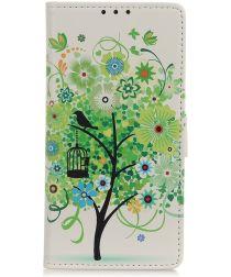 Alcatel 1B (2020) Book Case Hoesje Wallet met Print Green Tree