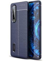 Oppo Find X2 Pro Hoesje TPU Leer Design Back Cover Blauw
