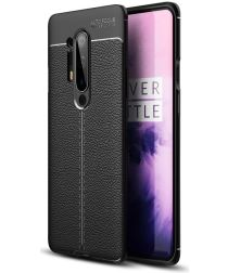 OnePlus 8 Pro Hoesje TPU Leer Design Back Cover Zwart