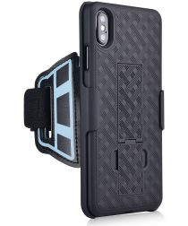 Apple iPhone XS Max Sportarmband met Back Cover Kickstand Hoes