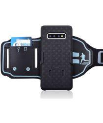 Samsung Galaxy S10 Sportarmband Bovenarm met Back Cover Woven