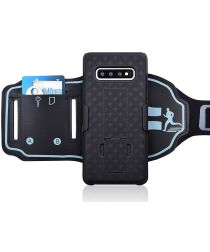 Samsung Galaxy S10 Plus Sportarmband Bovenarm met Back Cover Woven