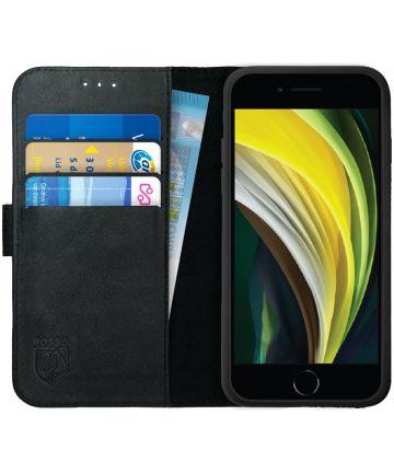 Rosso Deluxe iPhone SE (2020) Hoesje Echt Leer Pasjes Book Case Zwart Hoesjes