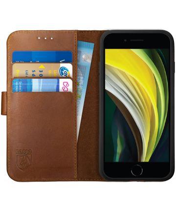 Rosso Deluxe iPhone SE (2020) Hoesje Echt Leer Pasjes Book Case Bruin