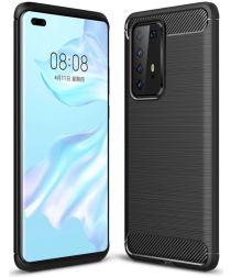 Huawei P40 Pro Hoesje Geborsteld TPU Zwart