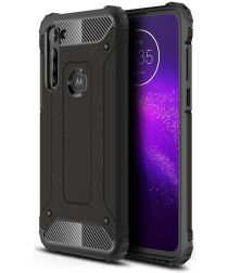 Motorola Moto G8 Power Armor Guard Hybrid Case Zwart
