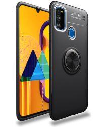 Samsung Galaxy M21 Hoesje met Ring Kickstand Zwart