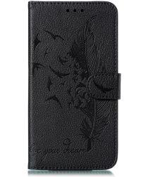 Samsung Galaxy M21 Hoesje Portemonnee met Veer Print Zwart