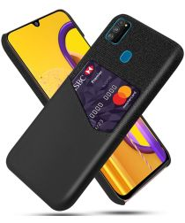 Samsung Galaxy M21 Kunstleer en Stof Hoesje met Kaarthouder Zwart