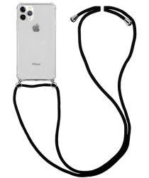 Apple iPhone 11 Pro Hoesje Hybride Back Cover met Koord Zwart