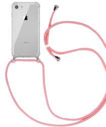 Apple iPhone SE (2020) / 8 Hoesje Hybride Back Cover met Koord Roze