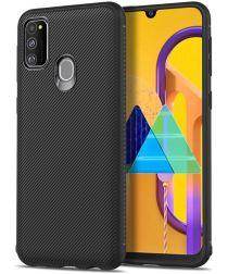 Samsung Galaxy M21 Hoesje Twill Slim Textuur TPU Zwart