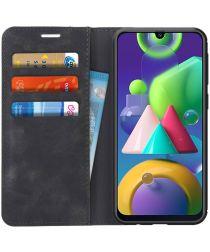 Samsung Galaxy M21 Hoesje Zijdezacht Kunstleer Portemonnee Zwart