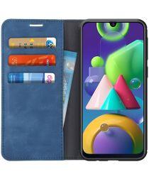 Samsung Galaxy M21 Hoesje Zijdezacht Kunstleer Portemonnee Blauw