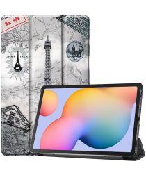 Samsung Galaxy Tab S6 Lite Hoesje Tri-Fold Eiffeltoren Print