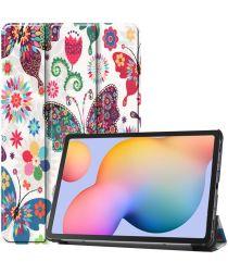 Samsung Galaxy Tab S6 Lite Hoesje Tri-Fold Vlinders Print