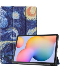 Samsung Galaxy Tab S6 Lite Hoesje Tri-Fold Sterrennacht Print