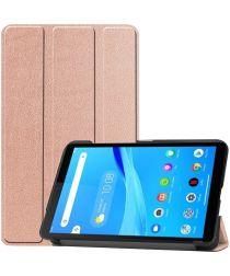 Lenovo Tab M7 Hoesje Tri-Fold Book Case met Standaard Roze Goud