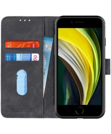 Apple iPhone 7/8/SE 2020 Hoesje Portemonnee Vintage Zwart Kunstleder Hoesjes