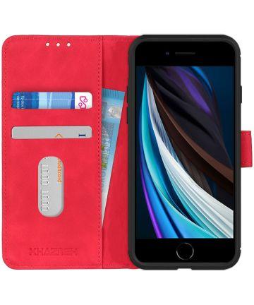Apple iPhone 7/8/SE 2020 Hoesje Portemonnee Vintage Rood Kunstleder
