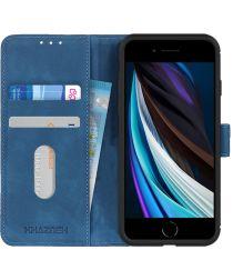 Apple iPhone 7/8/SE 2020 Hoesje Portemonnee Vintage Blauw Kunstleder