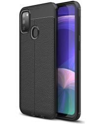 Samsung Galaxy M21 Hoesje met Kunstleer Coating Zwart