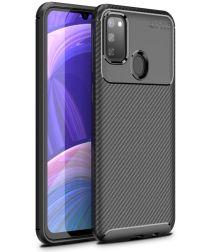 Samsung Galaxy M21 Hoesje Geborsteld Carbon Zwart