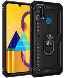 Samsung Galaxy M21 Hybride Hoesje met Ring Kickstand Zwart