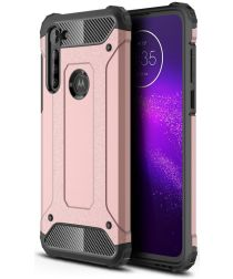 Motorola Moto G8 Power Hoesje Shock Proof Hybride Back Cover Roze Goud