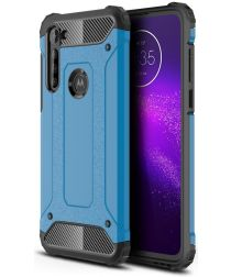 Motorola Moto G8 Power Hoesje Shock Proof Hybride Back Cover Blauw