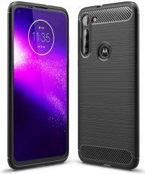 Motorola Moto G8 Power Geborsteld TPU Hoesje Zwart