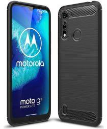 Motorola Moto G8 Power Lite Hoesje Geborsteld TPU Zwart