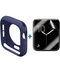 Apple Watch 40MM Hoesje Flexibel TPU met Folie Screenprotector Blauw