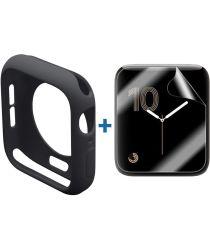 Apple Watch 44MM Hoesje Flexibel TPU met Folie Screenprotector Zwart