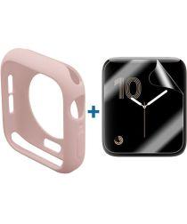Apple Watch 44MM Hoesje Flexibel TPU met Folie Screenprotector Roze