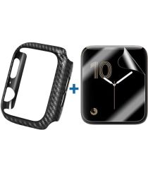 Apple Watch 44MM Hoesje Carbon TPU Bumper met Screenprotector Zwart