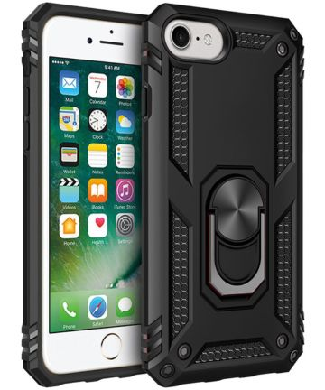 Apple iPhone SE (2020) / 8 / 7 Draaibaar Stand Hoesje TPU Zwart Hoesjes