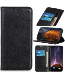 Samsung Galaxy A21s Crazy Horse Leather Wallet Case Zwart