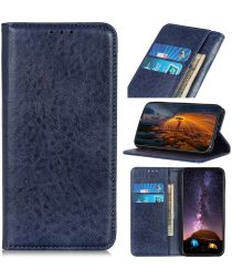 Samsung Galaxy A21s Crazy Horse Leather Wallet Case Blauw