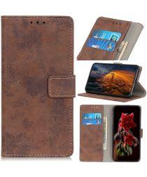 LG V60 ThinQ 5G Hoesje Retro Wallet Stand Kunst Leer Bruin