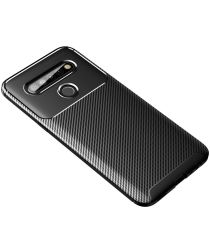 Drop Resistant Carbon Fiber TPU Shell Case for LG K61 - Black