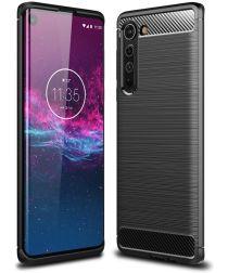 Motorola Edge Geborsteld TPU Hoesje Zwart