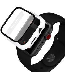 Apple Watch 44MM Hoesje Hard Plastic Bumper met Tempered Glass Wit