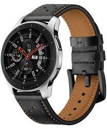 Universeel Smartwatch 22MM Bandje Echt Leer met Gesp Sluiting Zwart