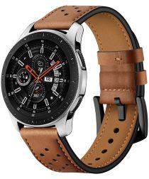 Universeel Smartwatch 22MM Bandje Echt Leer met Gesp Sluiting Bruin