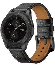 Universeel Smartwatch 20MM Bandje Echt Leer met Gesp Sluiting Zwart